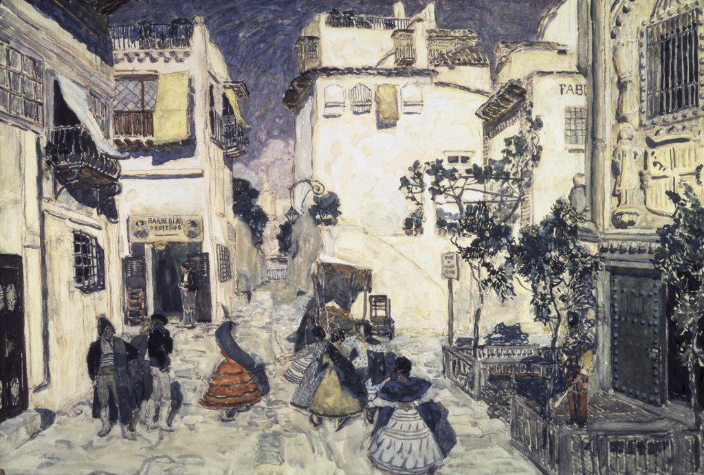 Stock Photo: 261-329 The Street of Seville  Aleksandr Jakovlevic Golovin (1863-1930/Russian) Tretyakov Gallery, Moscow, Russia