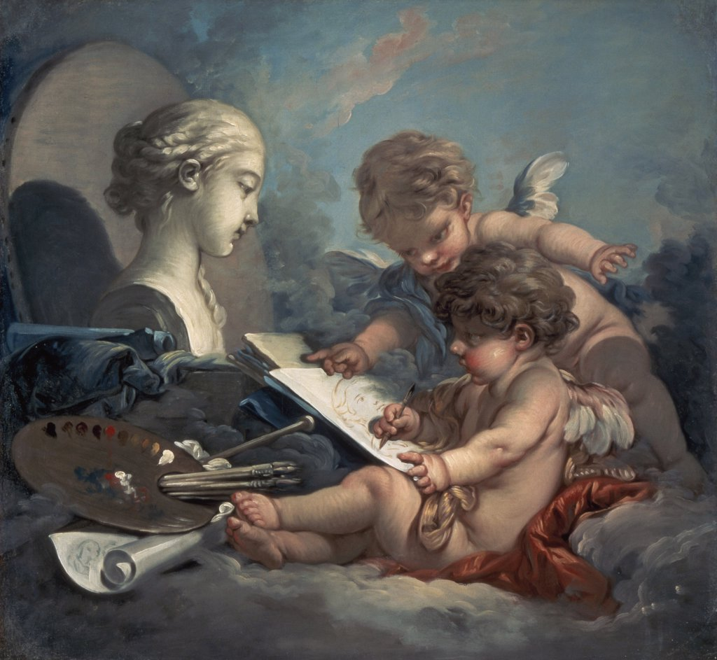 Stock Photo: 261-346 Amore, Allegory of Painting 