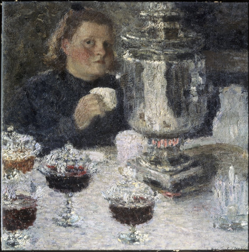 Stock Photo: 261-352 At the Samovar by Igor Grabar, 1911, 1871-1960, Russia, Moscow, Tretyakov Gallery