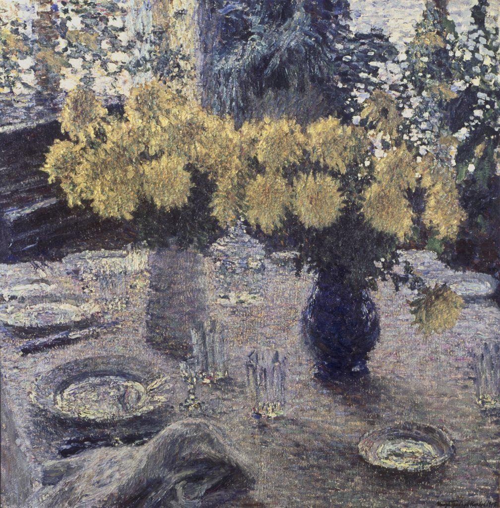 Stock Photo: 261-353 Chrysanthemums by Igor Grabar, 1905, 1871-1960, Russia, Moscow, Tretyakov Gallery