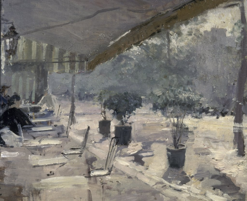 France, Paris, Cafes in Paris by Konstantin Alekseevic Korovin, (1861-1939), Russia, Moscow, Tretyakov Gallery, 1889-1890 : Stock Photo