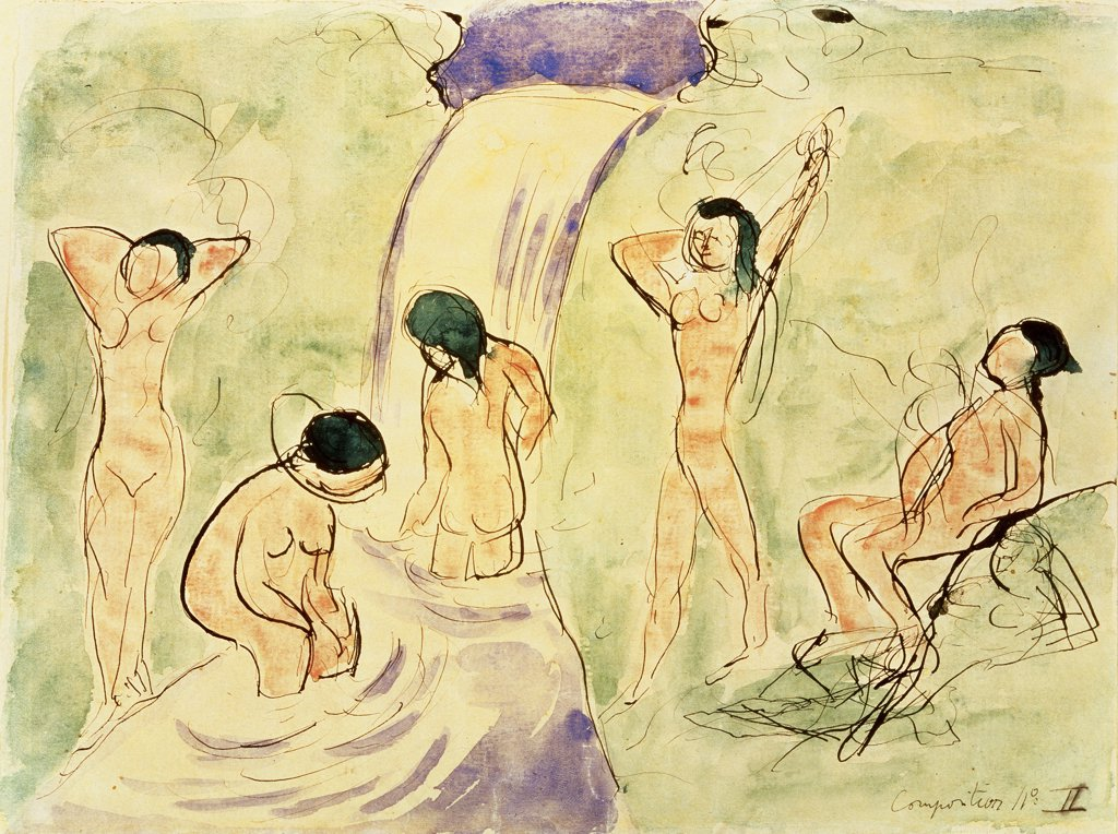 The Swimming Ones by Henri Matisse, ink and watercolor, 1869-1954, Russia, Moscow, Pushkin Museum of Fine Arts : Stock Photo