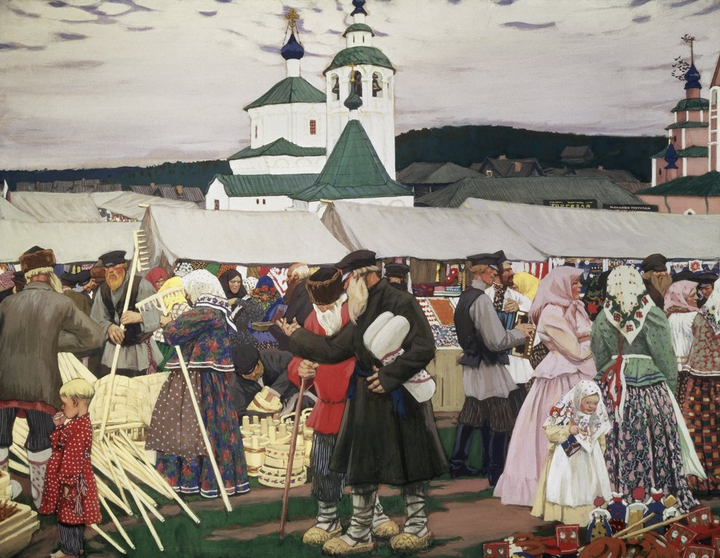 Stock Photo: 261-405 The Fair 1913 Boris Mihajlovic Kustodiev (1878-1927 Russian) Oil On Canvas Museum of Art, Nizhni Novgorod, Russia