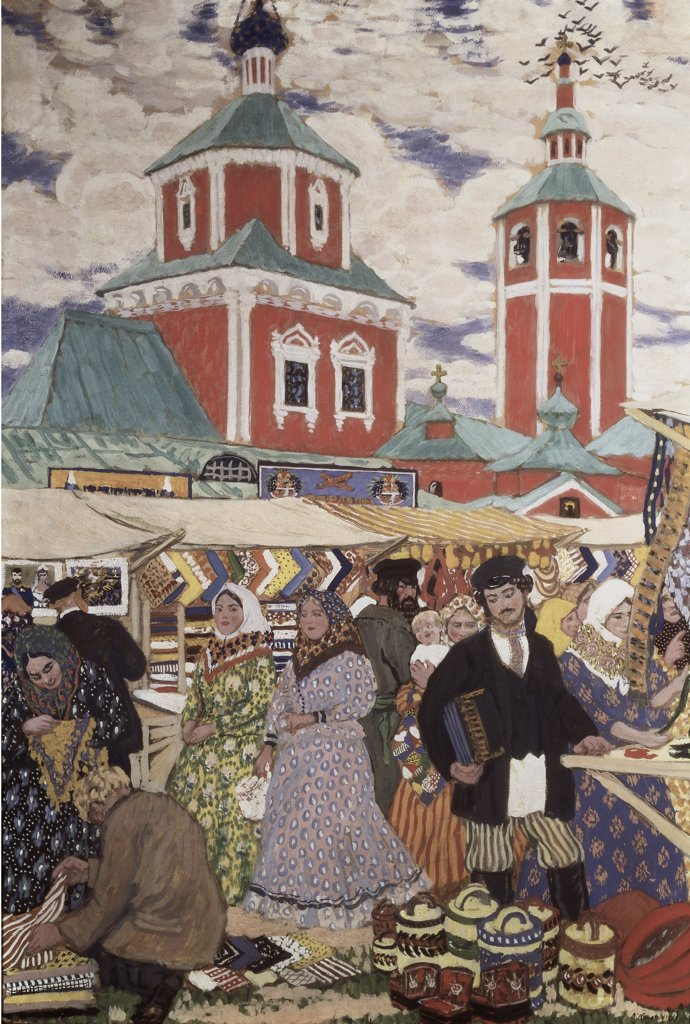 Stock Photo: 261-415 At The Fair 1913 Boris Mihajlovic Kustodiev (1878-1927 Russian) Oil On Canvas Museum of Art, Nizhni Novgorod, Russia
