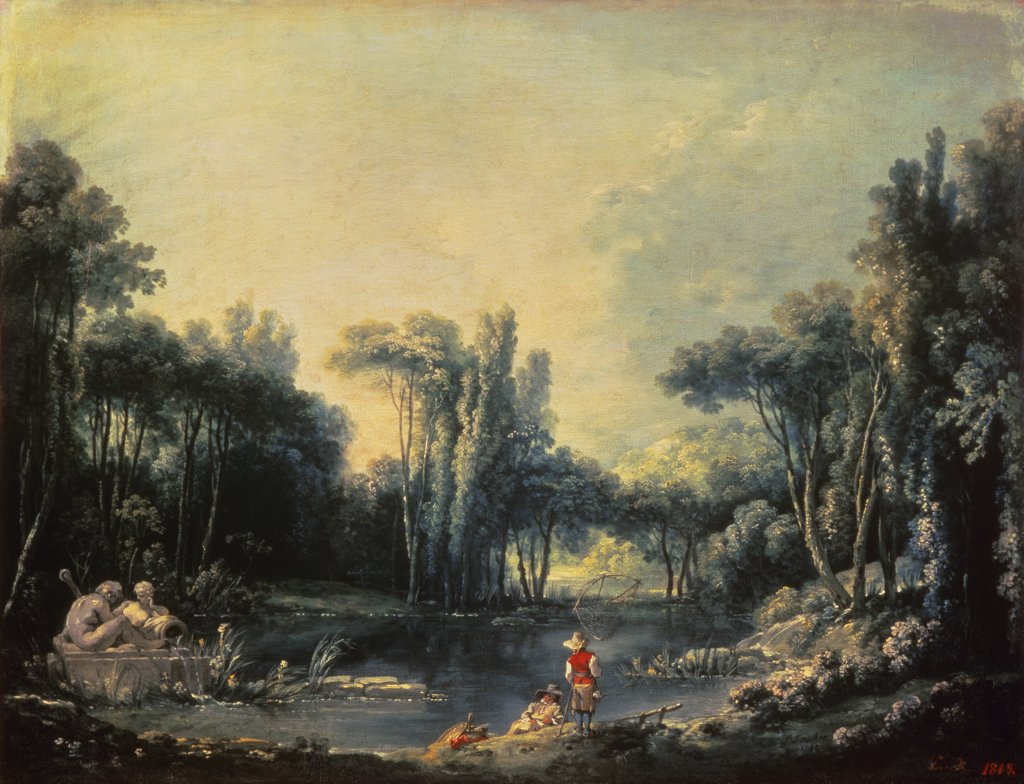 Stock Photo: 261-418 Landscape With A Pond 1746 S.d. 1746 Francois Boucher (1703-1770 French) Oil On Canvas State Hermitage Museum, St. Petersburg, Russia