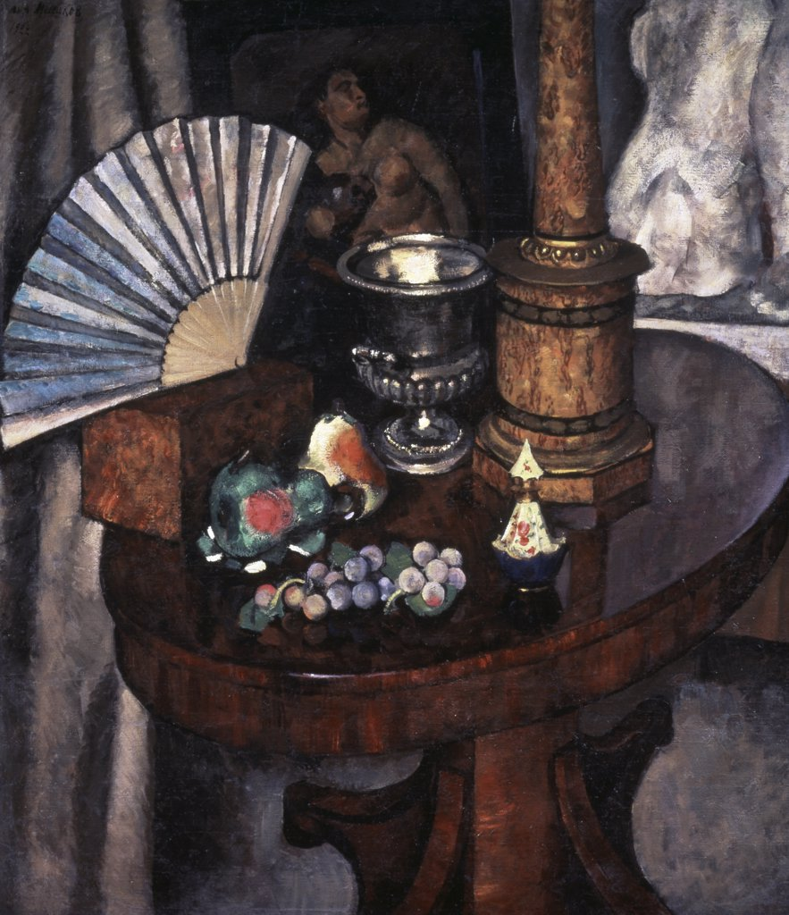 Stock Photo: 261-433 Still Life With A Fan by Il'ya Mashkov, oil on canvas, 1922, 1881-1944, Russia, St. Petersburg, State Russian Museum