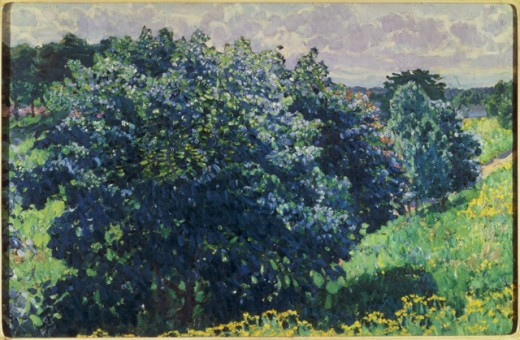 Stock Photo: 261-447 The Blue Bush, Konstantin Fjodorovic Yuon, oil on canvas, 1915, 1875-1958, Russia, Moscow, Tretyakov Gallery