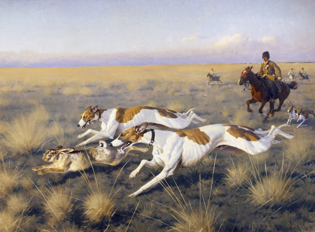 Stock Photo: 261-455 The Hunt by Hugo Ungewitter,  (b. 1869 ),  Russia,  Moscow,  Pushkin Mueum of Fine Arts