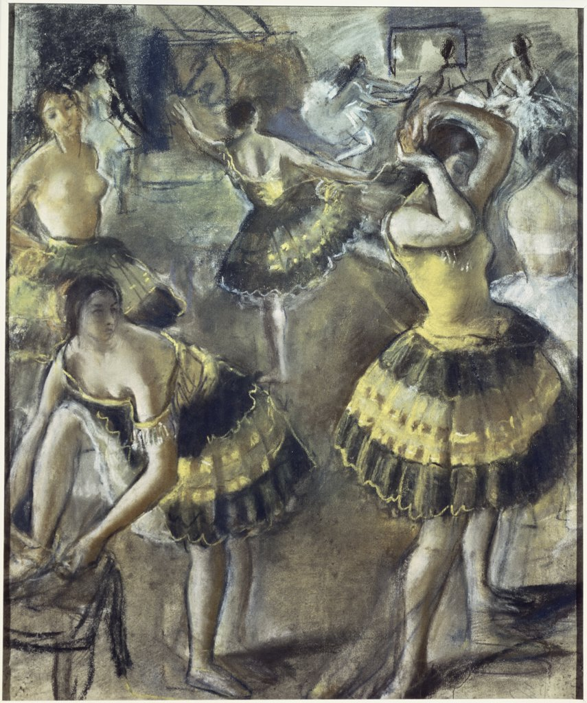 Stock Photo: 261-458 Ballerinas in the Dressing Room by Zinaida Evgen'ev Serebryakova, pastel and chalk, 1923, 1884-1967, Russia, Moscow, Pushkin Museum of Fine Arts