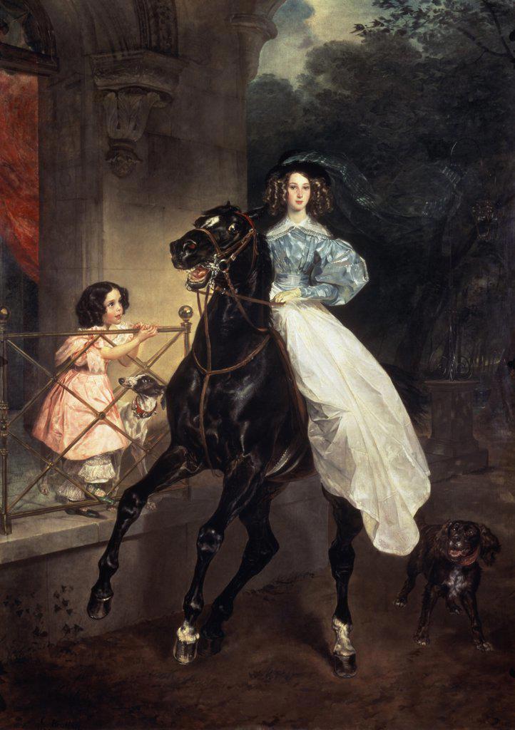 Horsewoman (G. Pacini) Karl Pavlovic Briullov (1799-1852 Russian) Tretyakov Gallery, Moscow, Russia  : Stock Photo
