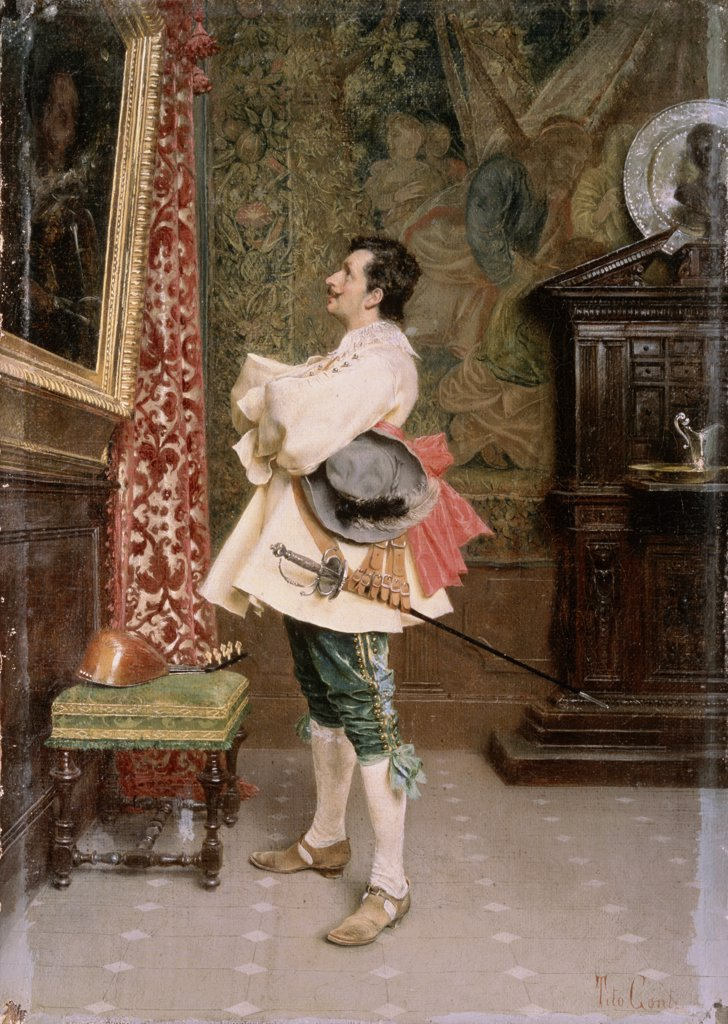 Stock Photo: 261-460 In Front Of The Portrait Tito Conti (1842-1924 Italian) Oil On Canvas Pushkin Museum of Fine Arts, Moscow, Russia
