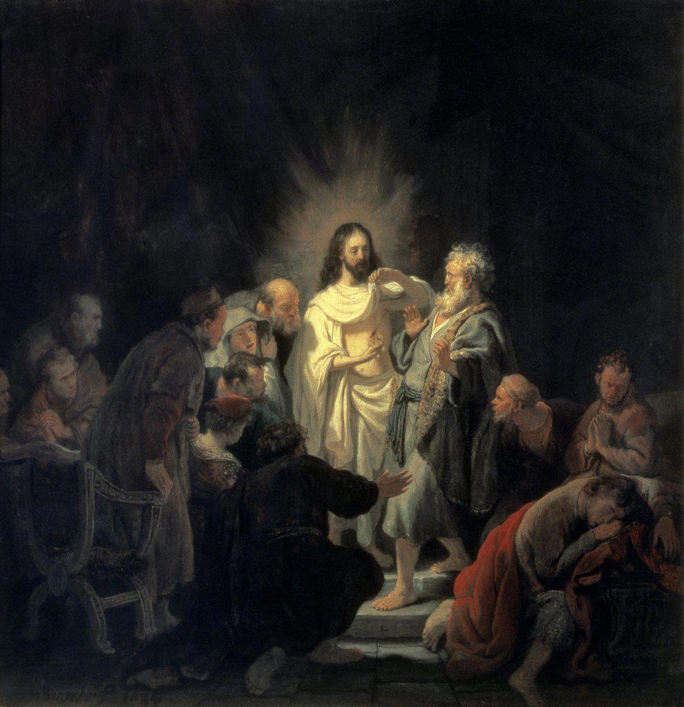 Disbelief of Apostle Thomas Rembrandt Van Rijn (1606-1669 Dutch) Hermitage Museum, St. Petersburg, Russia  : Stock Photo