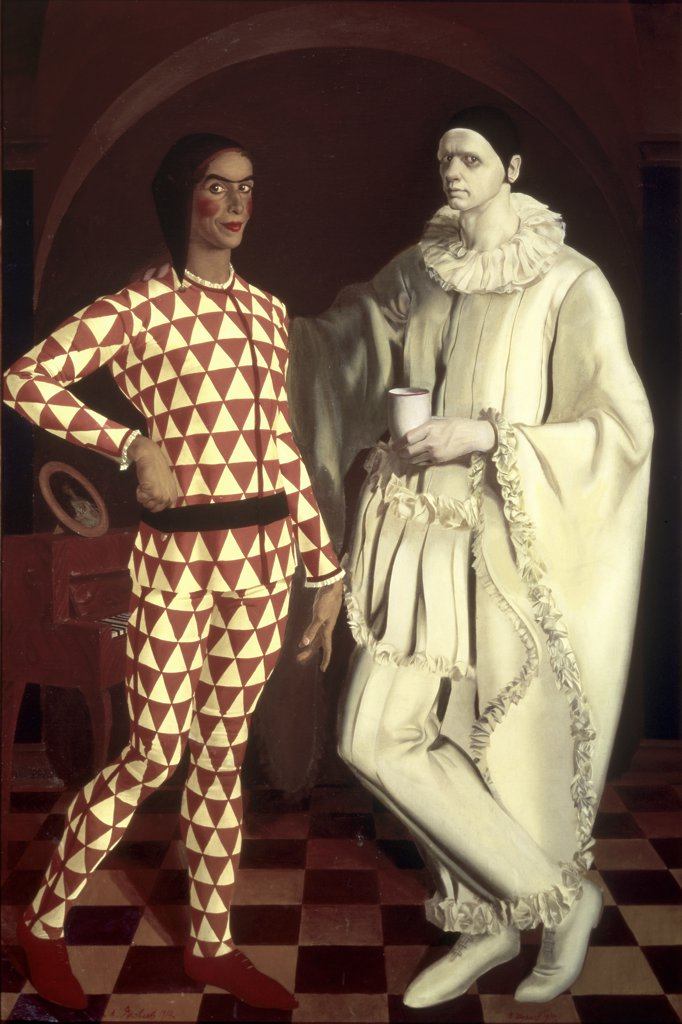 Stock Photo: 261-477 Harlequin and Pierrot by Vasilij Suhaev, oil on board, 1914, 1887-1973, Russia, St. Petersburg, Russian State Museum