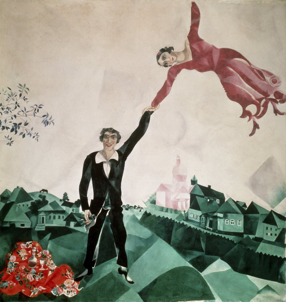 The Walk by Marc Chagall, 1917, 1887-1985, Russia, St. Petersburg, Russian State Museum : Stock Photo