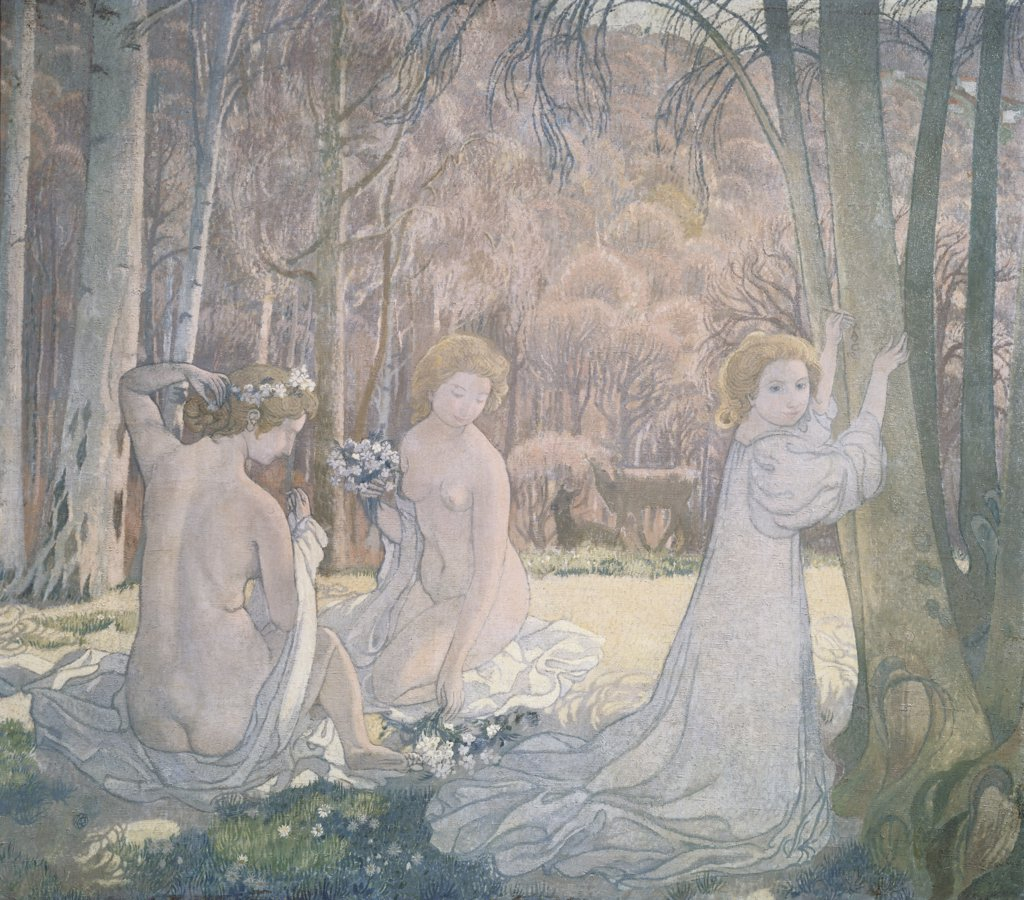 Spring Landscape by Maurice Denis, 1870-1943, Russia, St. Petersburg, Hermitage Museum : Stock Photo