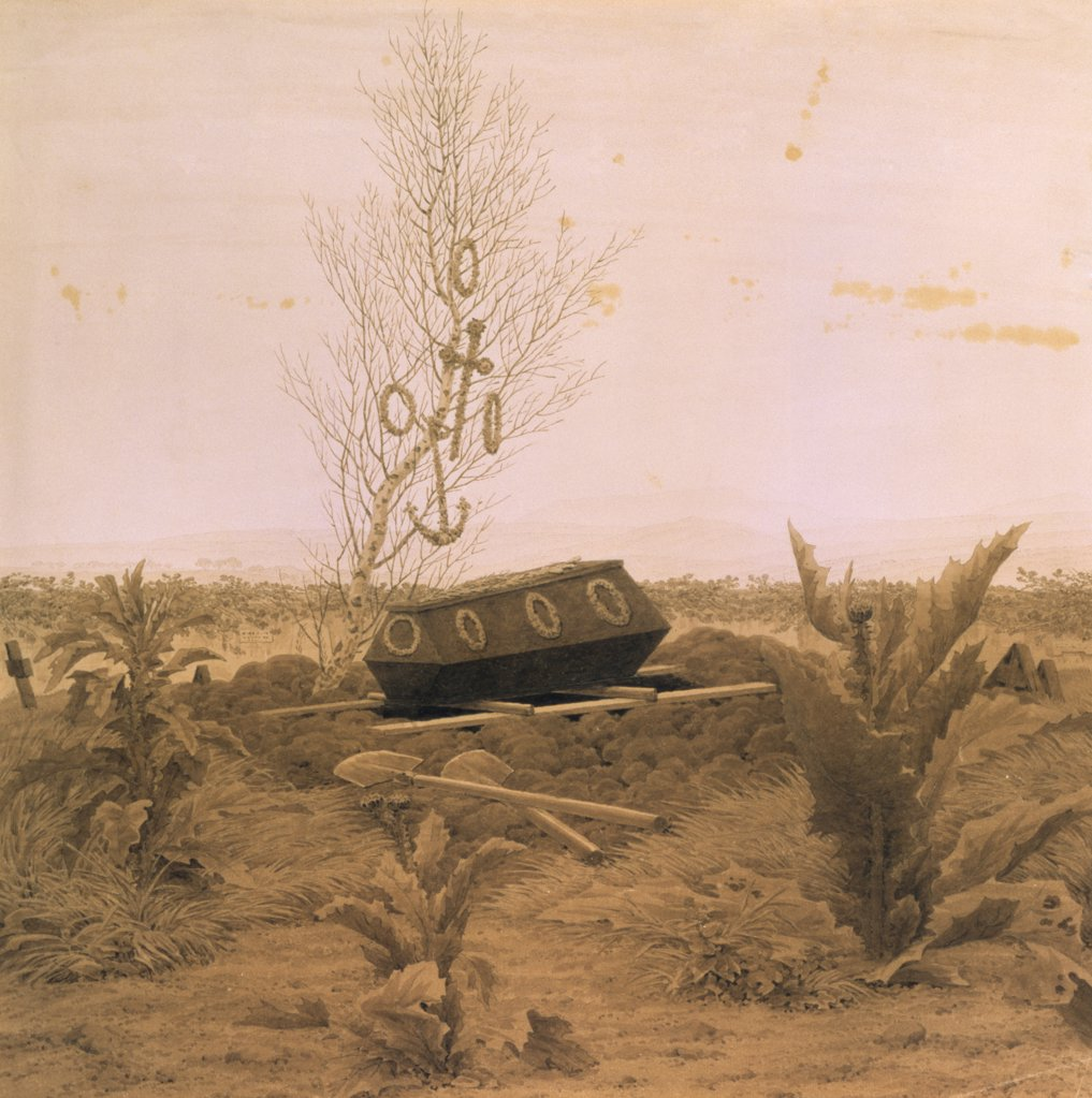 At the Edge of the Ditch by Caspar David Friedrich, 1774-1840, Russia, St. Petersburg, Hermitage Museum : Stock Photo
