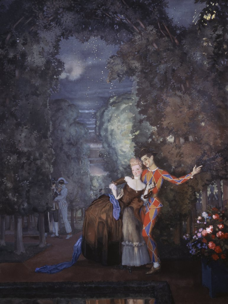 Stock Photo: 261-505 Harlequin And Dame 1912 Konstantin Andreevic Somov (1869-1939 Russian) Tretyakov Gallery, Moscow, Russia