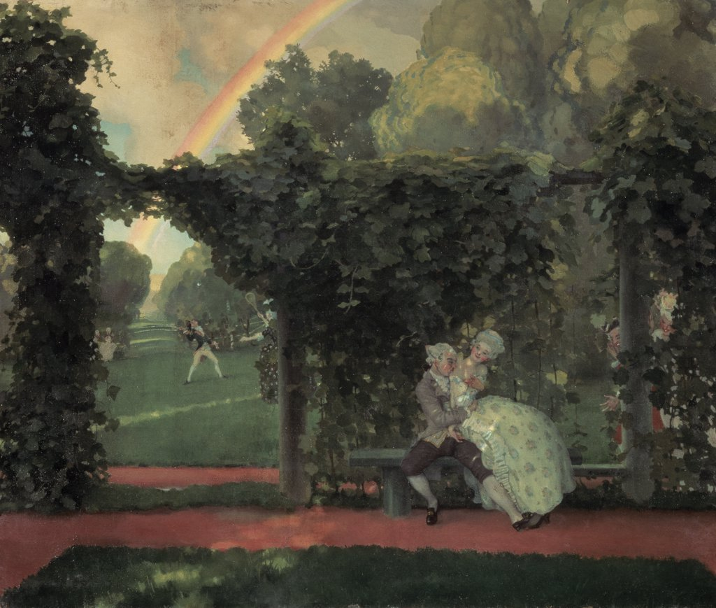 Stock Photo: 261-506 Kissing 1908 Konstantin Andreevic Somov (1869-1939 Russian) State Russian Museum, St. Petersburg, Russia