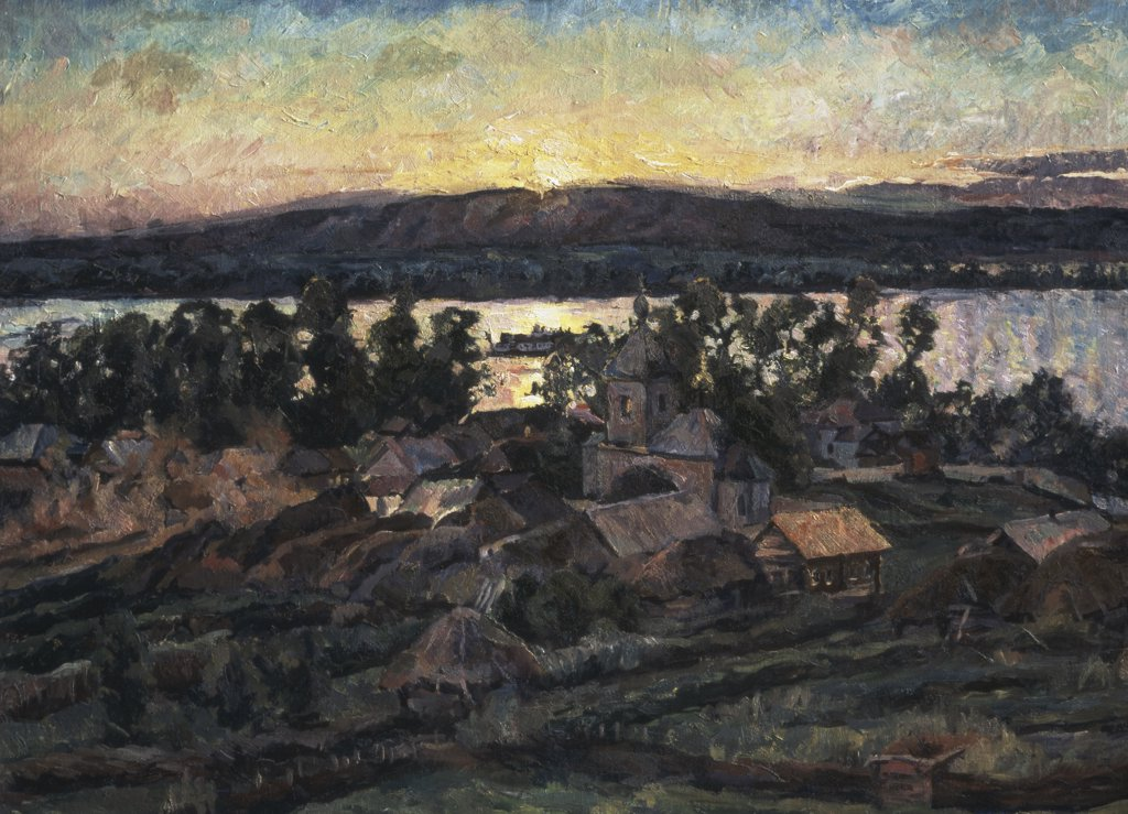 Stock Photo: 261-518 Sunset by Aristarh Vasil'evic Lentulov, oil on canvas, 1882-1943, Russia, Moscow, Tretyakov Gallery