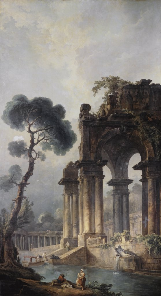 Stock Photo: 261-523 The Ruins Near The Water 1779 Hubert Robert (1733-1808 French) Oil On Canvas Pushkin Museum of Fine Arts, Moscow, Russia