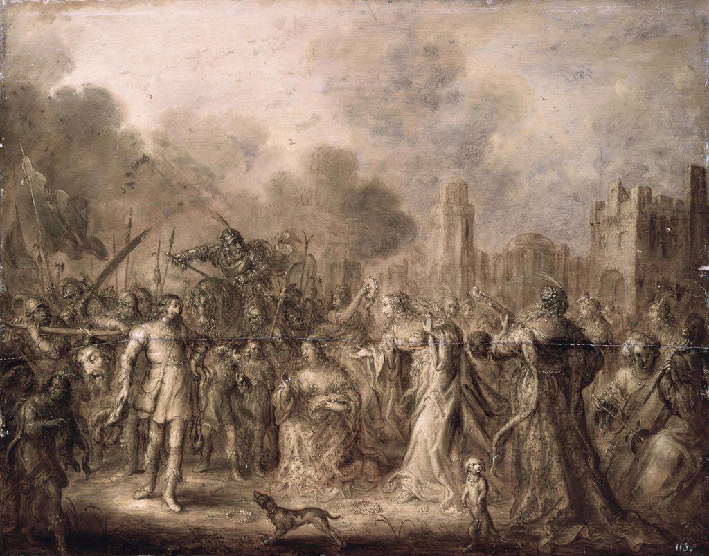 Stock Photo: 261-532 David's Triumph 1658, Adriaen van de Venne (1589-1662/Dutch) Oil on Wood Panel  Pushkin Museum of Fine Arts, Moscow