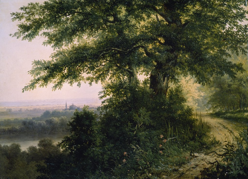 Landscape by R. Eberlet,  oil on canvas,  19th century,  Russia,  Moscow,  Pushkin Mueum of Fine Arts : Stock Photo