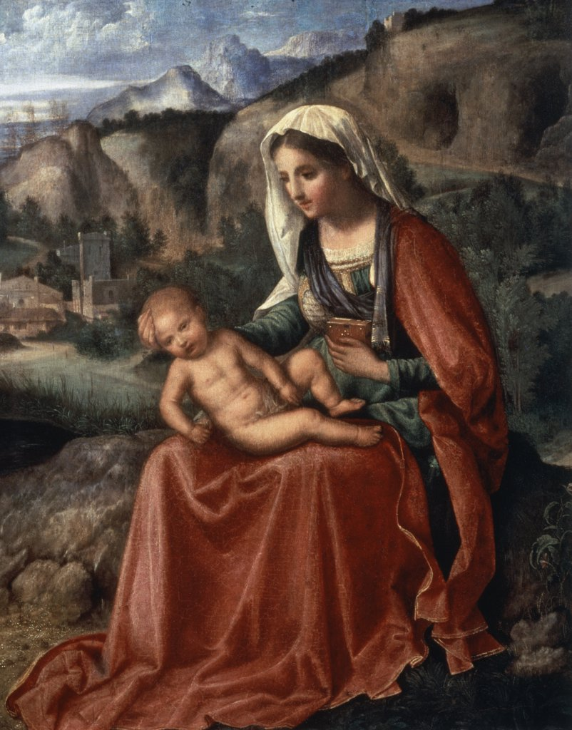 Stock Photo: 261-541 Madonna and Child in a Landscape