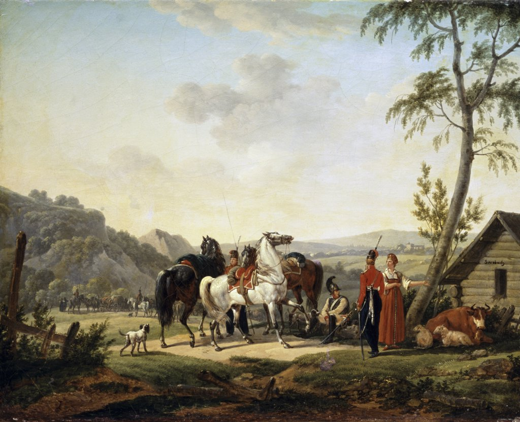 Stock Photo: 261-556 The Relaxation Of The Cavalrymen Jacques François J. Swebach (1769-1823 French) Oil On Canvas Pushkin Museum of Fine Arts, Moscow, Russia