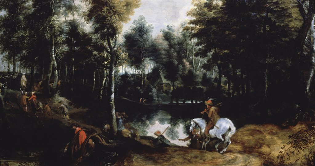 Forest Landscape Jan Wildens (1586-1653 Flemish) Oil On Canvas Pushkin Museum of Fine Arts, Moscow, Russia : Stock Photo