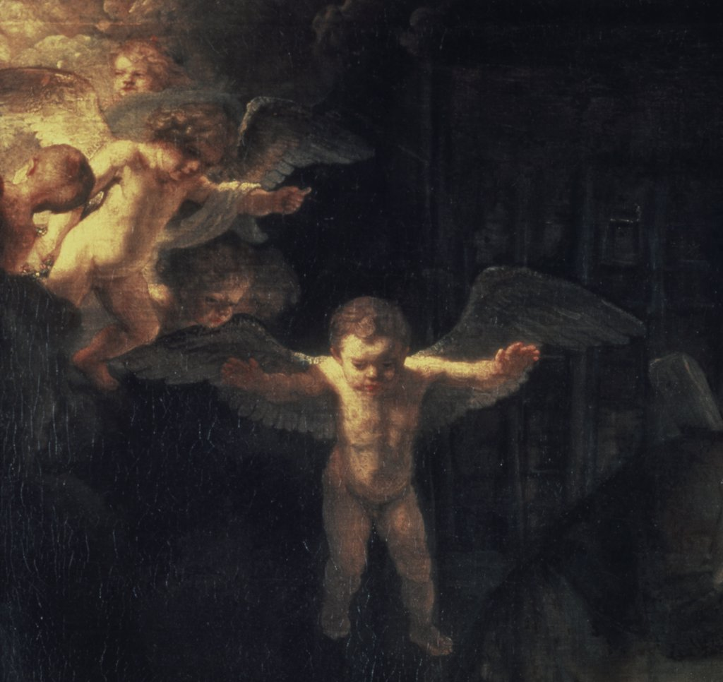 Stock Photo: 261-565 The Holy Family (Angel Detail) S.D.1645 Rembrandt Harmensz van Rijn (1606-1669 Dutch) Oil On Wood Panel State Hermitage Museum, St. Petersburg, Russia