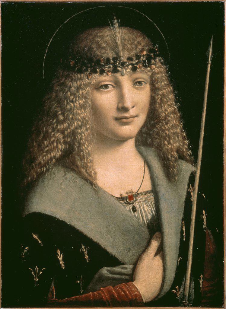 Saint Sebastian 1490 Giovanni Antonio Boltraffio (1467-1516 Italian) Pushkins Museum of Fine Arts, Moscow  : Stock Photo