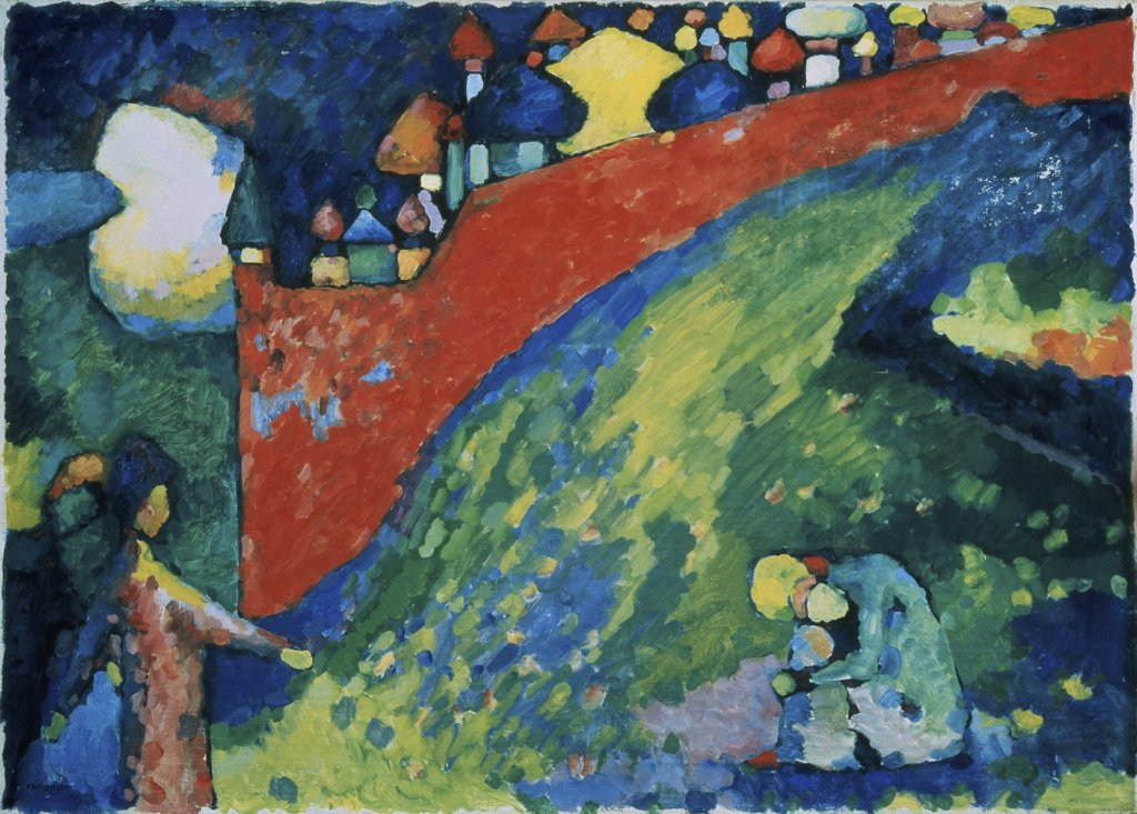Red Wall by Vasily Kandinsky, oil on canvas, 1909, 1866-1944, Russia, Astrakhan, Kustodiev Gallery : Stock Photo