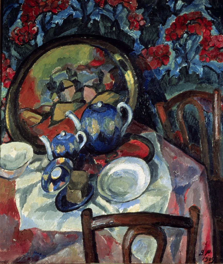 Stock Photo: 261-611 Still Life With Dishes by Vasilij Vasil'evic Rozdestvenskij, oil on canvas, 1909, 1884-1963, Russia, Kazan, Museum of Art