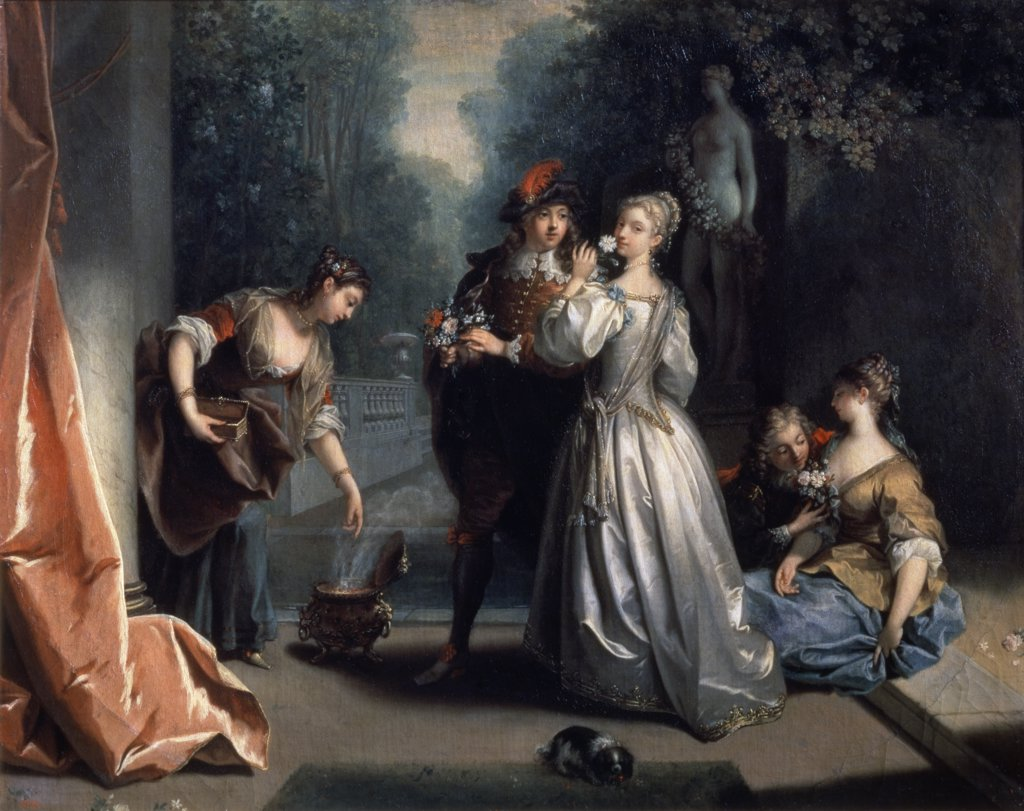 """Stock Photo: 261-620 Smell  (From The """"Five Senses"""" Series) Jean Raoux (1677-1734 French) Pushkin Museum of Fine Arts, Moscow, Russia"""