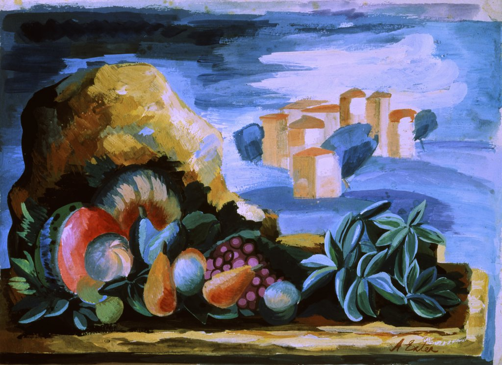 Still Life In A Landscape by Alexandra Exter, 1930, 1882-1949, Russia, Moscow, Bakhrushin Theater Museum : Stock Photo