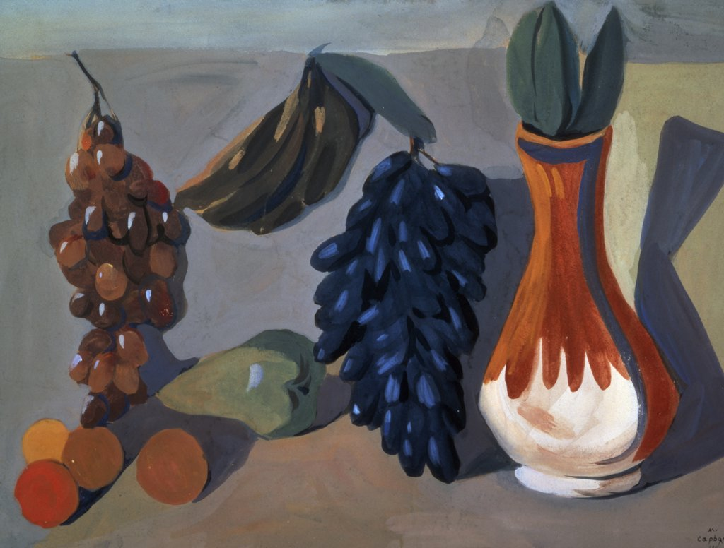 Stock Photo: 261-654 Still Life with Grapes by Martiros Sergeevic Sar'jan,  (1880-1972 ),  Russia,  Moscow,  Tretyakov Gallery