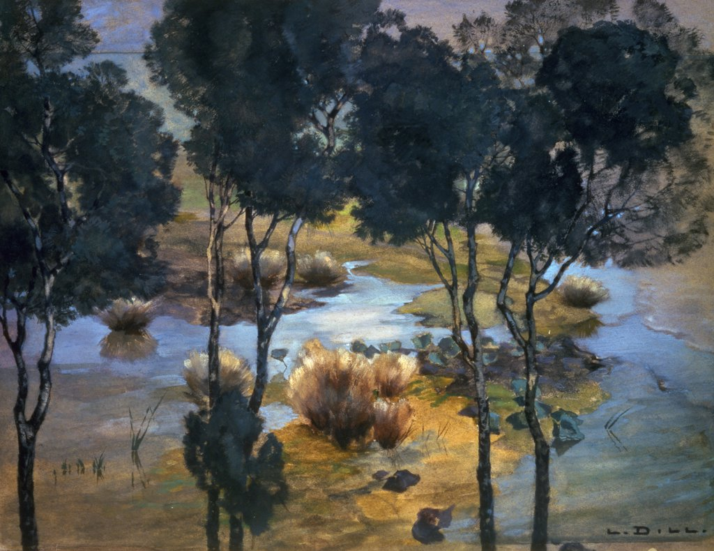 Stock Photo: 261-662 Landscape by Ludwig Dill,  (1848-1940),  Russia,  Moscow,  Pushkin Mueum of Fine Arts