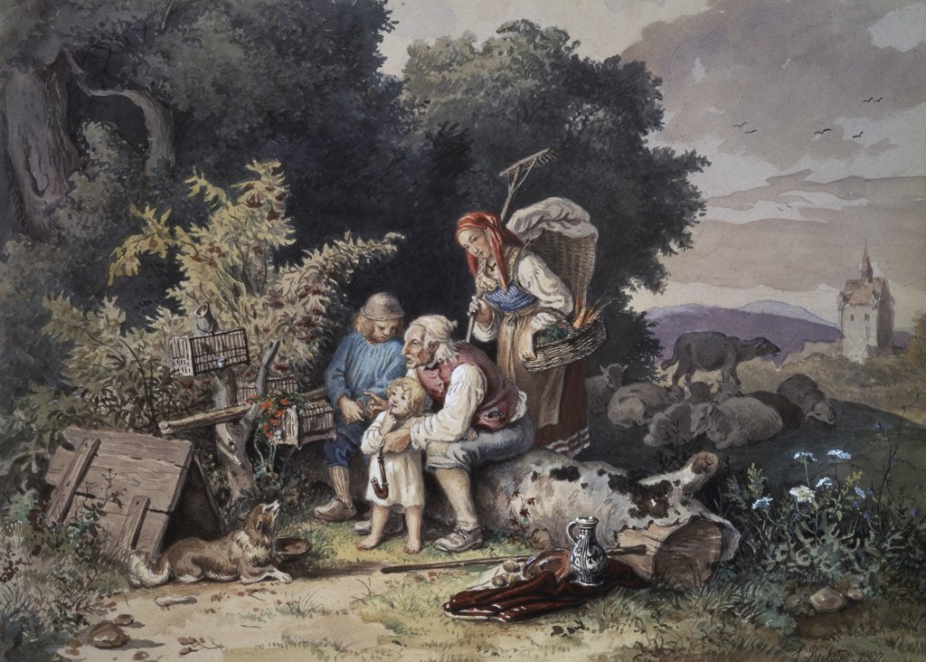 Stock Photo: 261-666 The Shepherd's Family S.d.1837 Ludwig Richter (1803-1884 German) Watercolor & Gouache Pushkin Museum of Fine Arts, Moscow, Russia