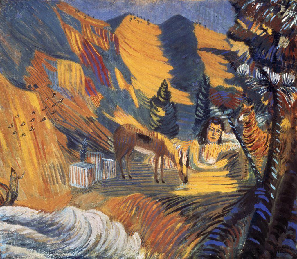 By the Sea,  Sphinx by Martiros Sergeevic Sar'jan,  1908,  (1880-1972 ),  Armenia,  Yerevan,  Saryan Museum : Stock Photo