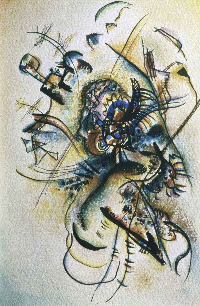 Composition by Vasily Kandinsky, 1916, 1866-1944, Russia, Moscow, Tretyakov Gallery : Stock Photo