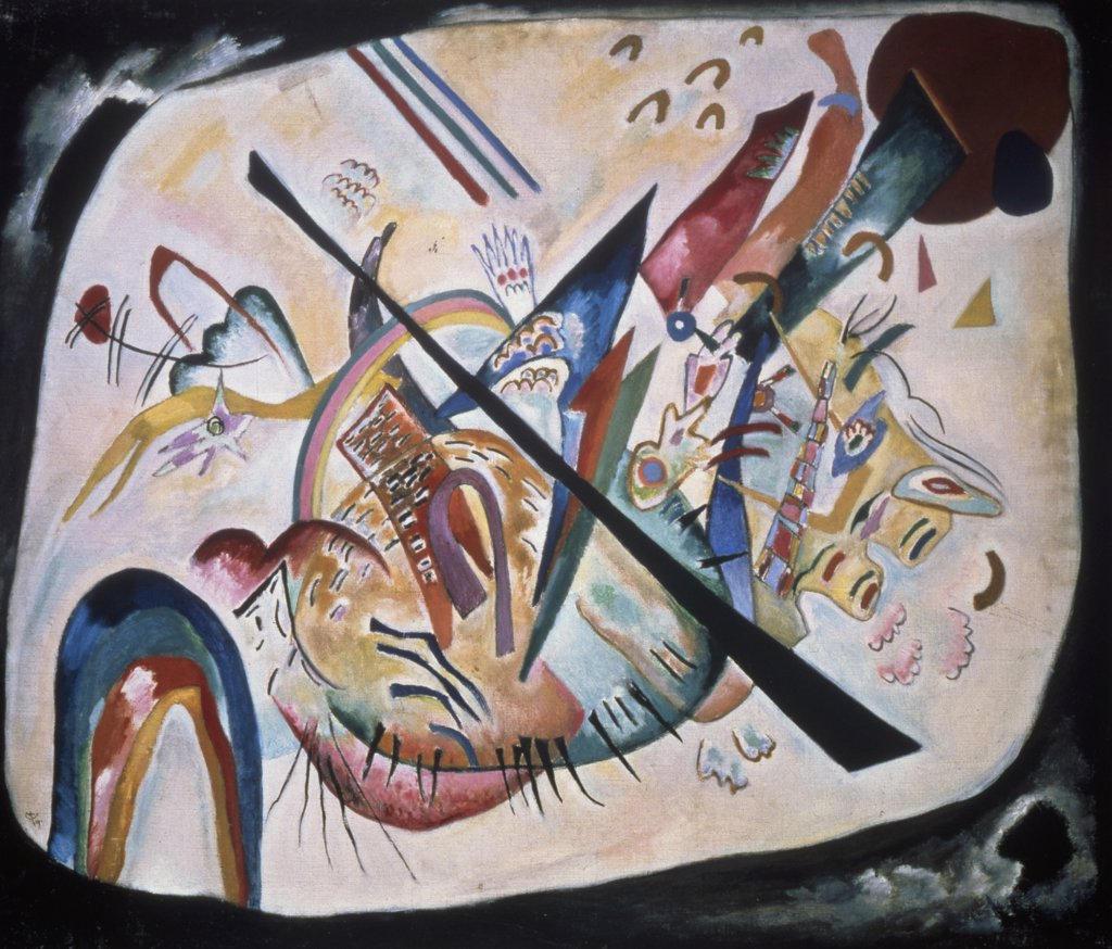 Stock Photo: 261-688 White Oval by Vasily Kandinsky, 1919, 1866-1944, Russia, Moscow, Tretyakov Gallery