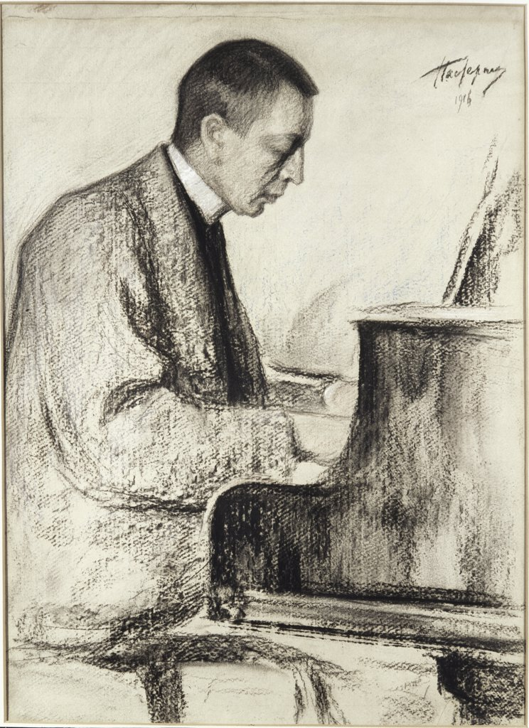 Portrait of S. Rachmaninov by Leonid Osipovic Pasternak, 1916, 1862-1945, Russia, Moscow, Tretyakov Gallery : Stock Photo