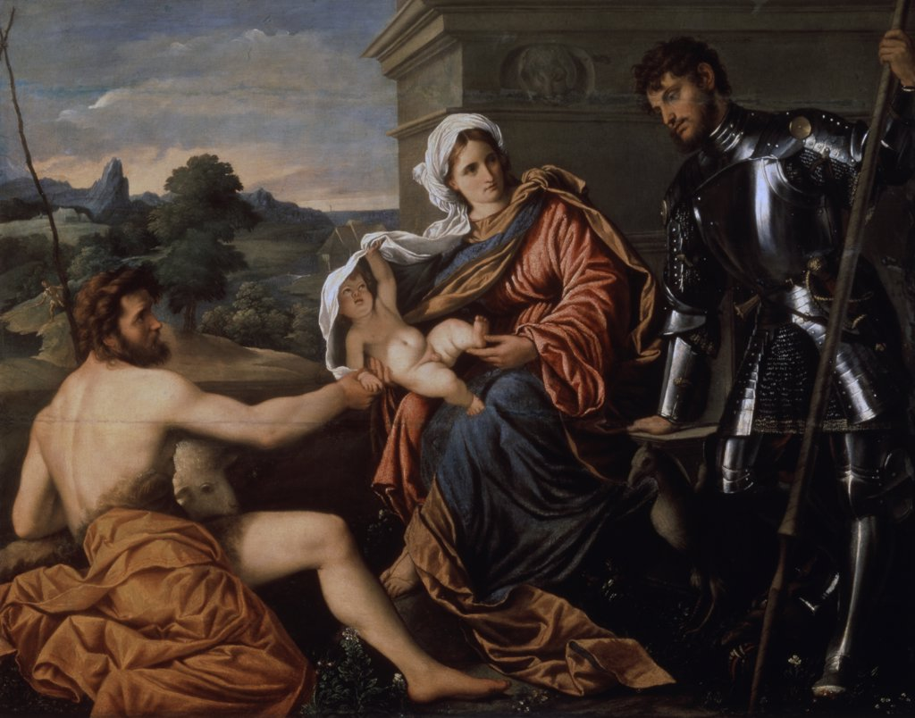 Stock Photo: 261-738 Madonna and Child, St. John The Baptist and St. George