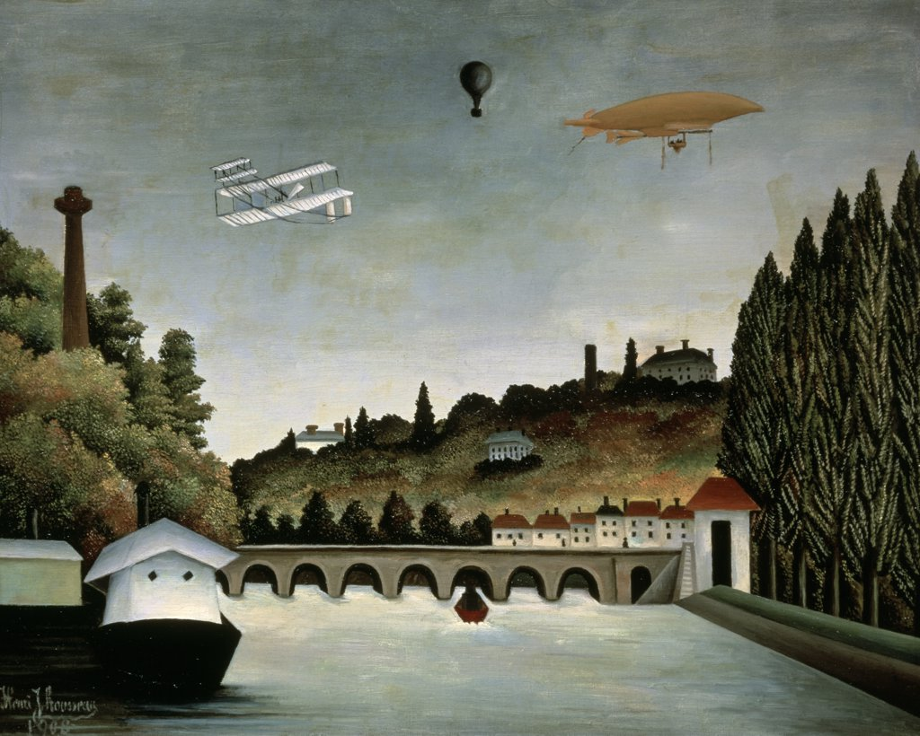 Landscape With Zeppelin 1908 Henri Rousseau (1844-1910 French) Pushkin Museum of Fine Arts, Moscow, Russia : Stock Photo