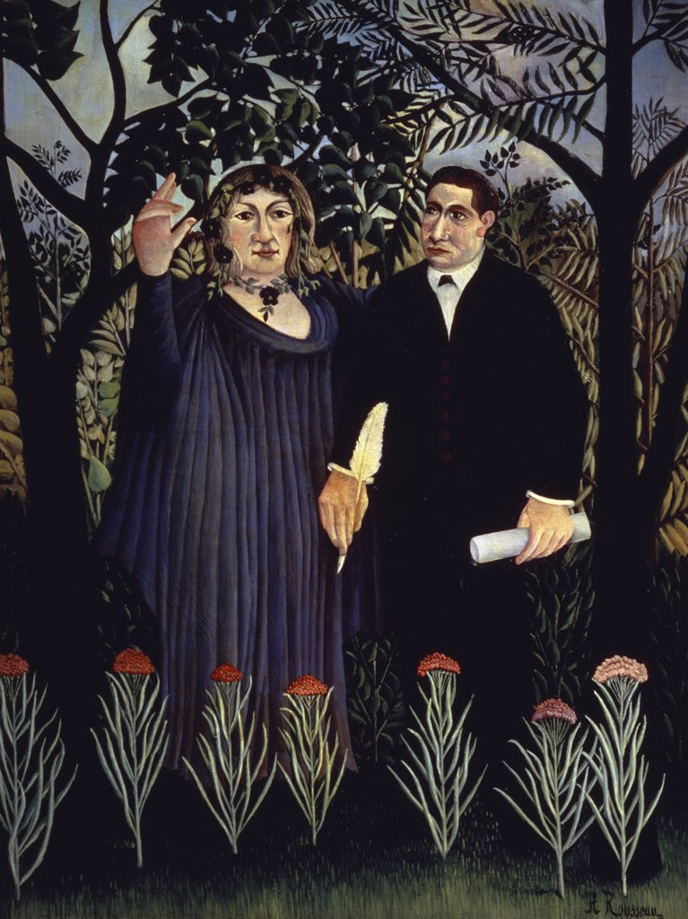 A Poet Inspired By The Muse (Portrait Of G. Apollinaire & M. Laurencin) 1909 Henri Rousseau (1844-1910 French) Pushkin Museum of Fine Arts, Moscow, Russia : Stock Photo