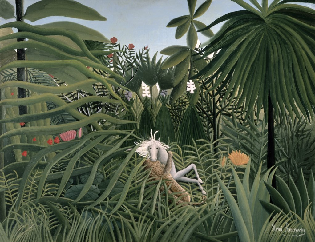 Stock Photo: 261-808 The Attack Of The Jaguar 1910 Henri Rousseau (1844-1910 French) Pushkin Museum of Fine Arts, Moscow, Russia