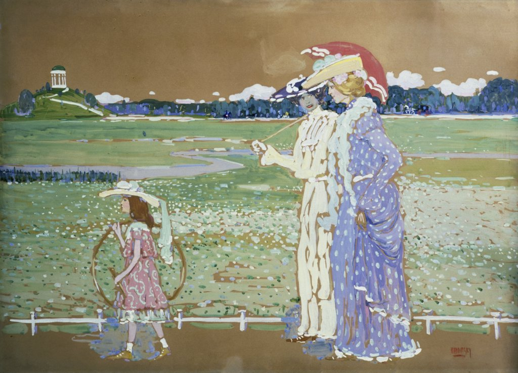 Stock Photo: 261-816 The Walk by Vasily Kandinsky, 1903, 1866-1944, Private Collection