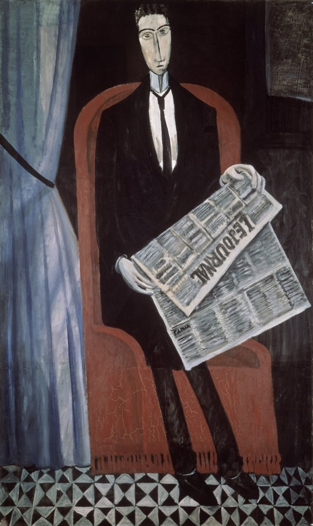 Stock Photo: 261-857 Portrait Of An Unknown Man Reading A Newspaper by Andre Derain, 1914, 1880-1954, Russia, St. Petersburg, State Hermitage Museum