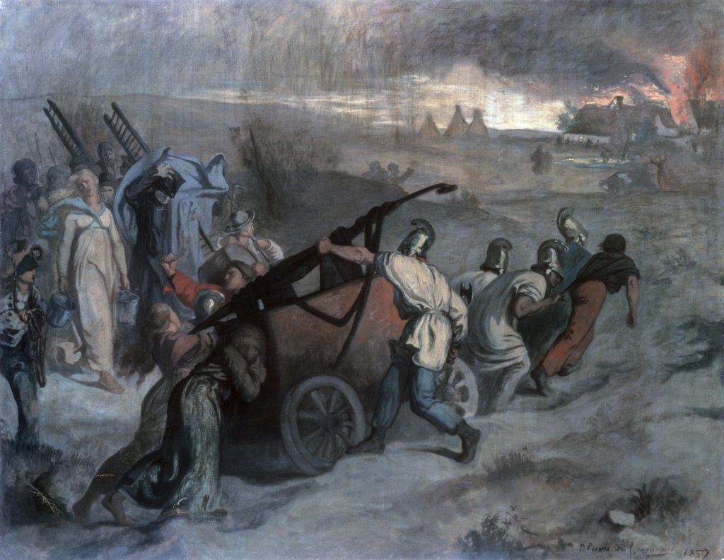 Stock Photo: 261-877 Village Firemen 1857 Pierre Puvis de Chavannes (1824-1898 French) State Hermitage Museum, St. Petersburg, Russia