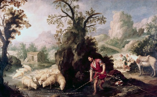 Stock Photo: 262-1509 Allegory-Jacob Laying The Peeled Rods Bartolome Esteban Murillo (1617-1682 Spanish) Oil On Canvas